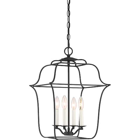 Quoize Gallery Black Steel 4-light Cage Chandelier