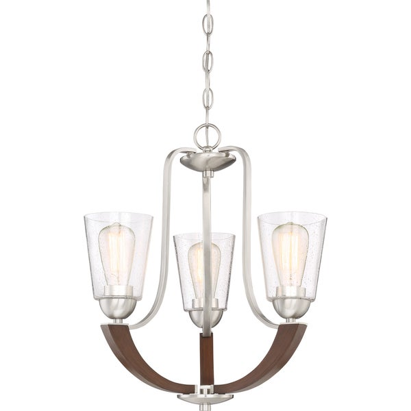 shop quoizel holbeck brushed nickel finish steel and wood 3 light
