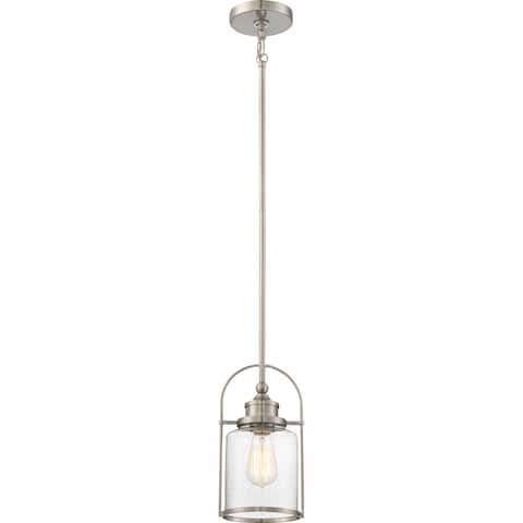 Quoize Payson Brushed Nickel Finish Steel and Glass Rod-hung Mini Pendant