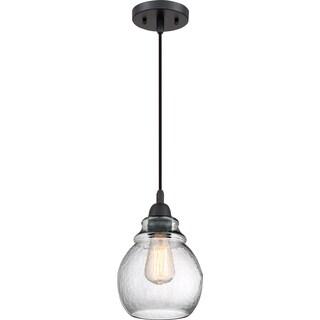 Quoizel Veil Black Steel and Glass Corded Mini Pendant Light