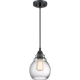 Quoizel Veil Black Steel and Glass Corded Mini Pendant Light