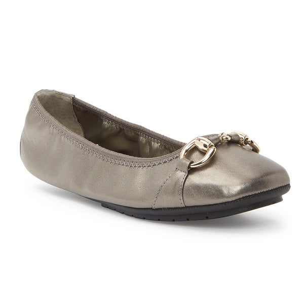 24adac0ef2 Shop Me Too Women s Legend 2.0 Silver Leather and Metal Ballet Flats ...
