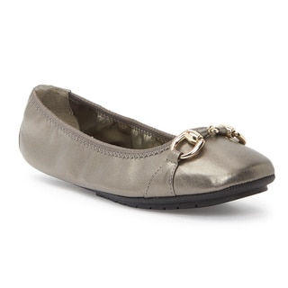 Me Too Women's Legend 2.0 Silver Leather and Metal Ballet Flats
