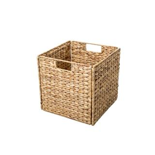 Trademark Innovations Beige Wicker 12-inch Foldable Storage Basket  sc 1 st  Overstock.com & Shop Seville Classics Natural Hyacinth Woven Storage Cube Basket ...