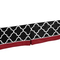 Sweet Jojo Designs Red, Black and White Trellis Bed Skirt