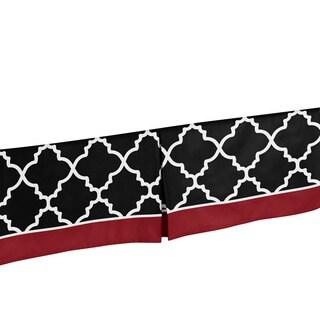 Sweet Jojo Designs Red, Black and White Trellis Bed Skirt