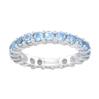 Pangea Mines Swiss Blue Topaz Eternity Band Ring