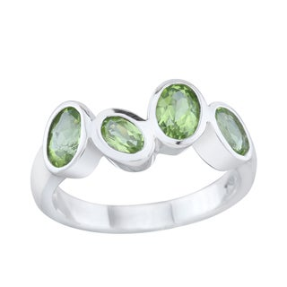Pangea Mines Sterling Silver Peridot Four-Stone Ring