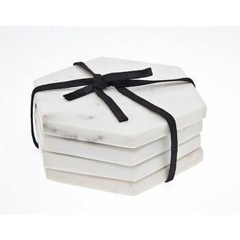 Godinger White Marble 4-piece Hexagonal Coaster Set