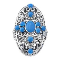 Pangea Mines Vintage Style Turquoise Shield Ring