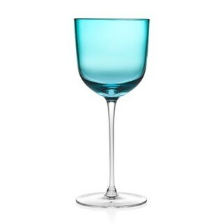 Rondo 11-ounce Sea Blue Crystal Stem Goblet (Set of 4)