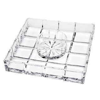 Godinger Radius Clear Crystal Chip Dip Server