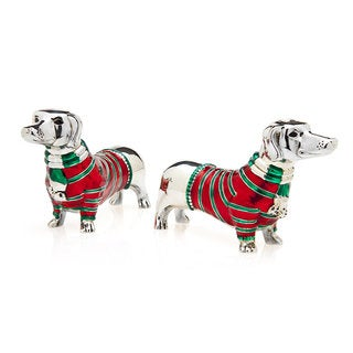 Dachshund Red and Green Salt and Pepper Shakers