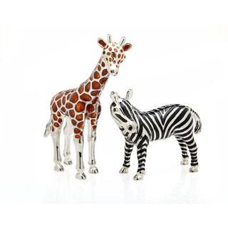 Godinger Giraffe and Zebra Metal Salt and Pepper Shakers (Set of 2)