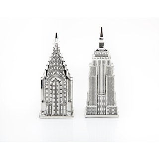 Godinger Empire State and Chrysler Building Silver Metal Salt and Pepper Shakers