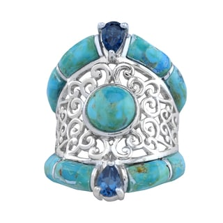 Pangea Mines Turquoise and London Blue Topaz Ring