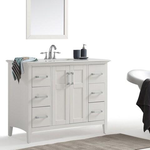 WYNDENHALL Salem 42-inch Bath Vanity in White with White Quartz Marble Top