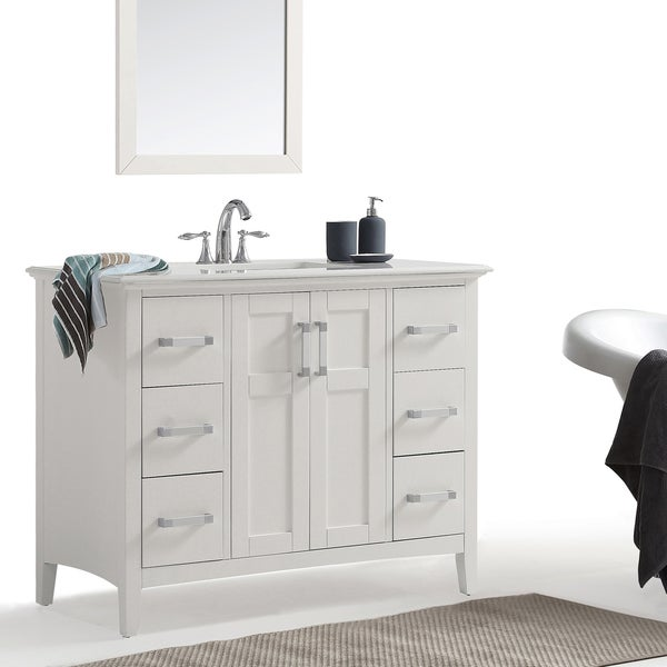 Shop wyndenhall salem 42 inch bath vanity in white with white quartz marble top on sale free for 42 inch vanities for bathrooms