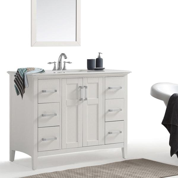 shop wyndenhall salem 42 inch bath vanity in white with white quartz marble top on sale free. Black Bedroom Furniture Sets. Home Design Ideas