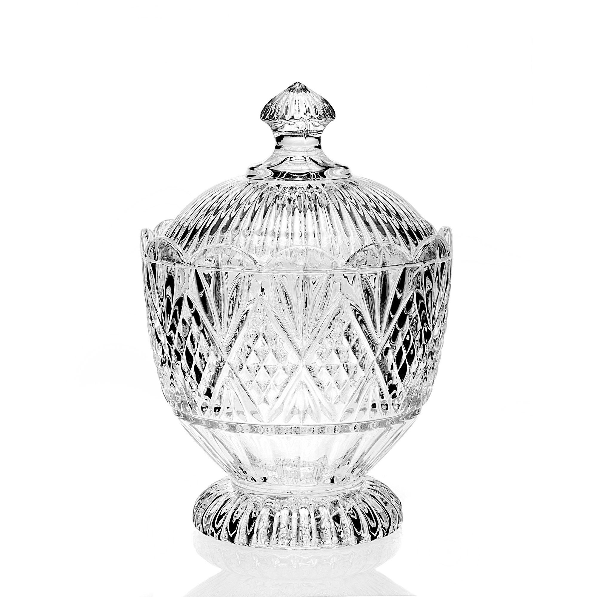 Godinger Dublin Clear Crystal Glass Covered Candy Dish (B...