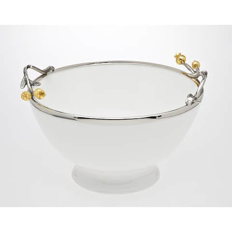 Godinger Golden Porcelain and Stainless Steel Blossom Salad Bowl