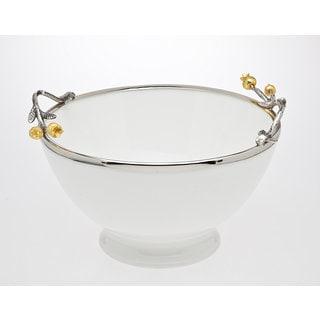 Godinger Golden Porcelain and Stainless Steel Blossom Salad Bowl