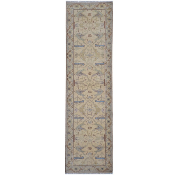 Herat Oriental Indo Hand-knotted Tribal Oushak Wool Runner (2'8 x 9'9) - 2'8 x 9'9