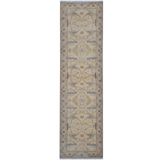 Herat Oriental Indo Hand-knotted Tribal Oushak Wool Runner (2'8 x 9'9)