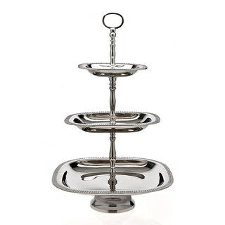 Godinger Silvertone Nickelplated Metal 3-tier Square Server Plates