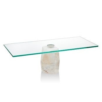 Godinger Glass and Marble Rectangular Cake Stand