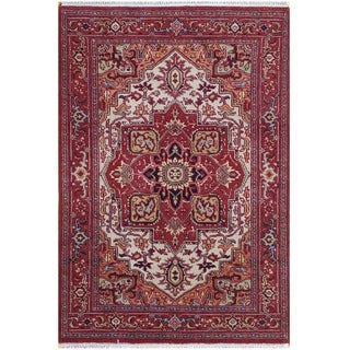 Herat Oriental Indo Hand-knotted Tribal Serapi Wool Rug (4'2 x 6')