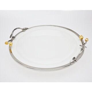 Godinger Stainless Steel Golden Blossom Round Tray