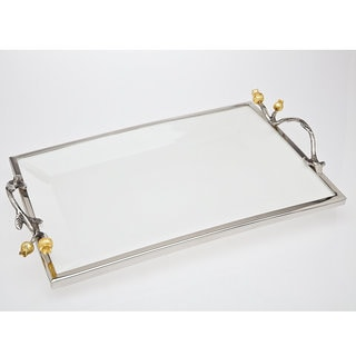 Godinger Golden Blossom Stainless Steel Rectangular Tray