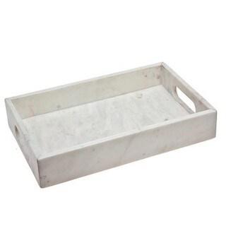 Godinger White Marble Rectangular Tray