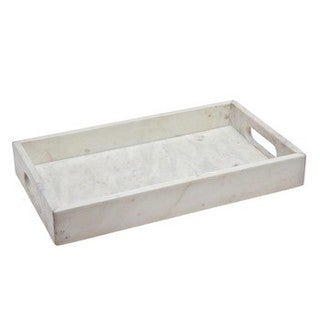 White Marble 14-inch Rectangular Tray