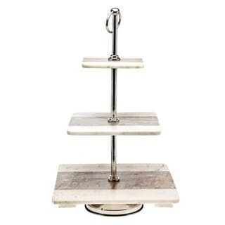 Godinger Two Tone Marble Square 3-tier Serving Tray