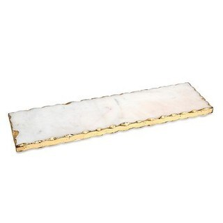 Godinger White and Gold Marble Stone Rectangular Gold Edge Tray