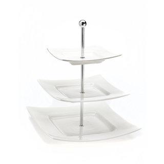 Godinger Piazza White Porcelain 3-tier Server