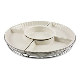 Godinger White Ceramic 13.5-inch 5-piece Lazy Susan