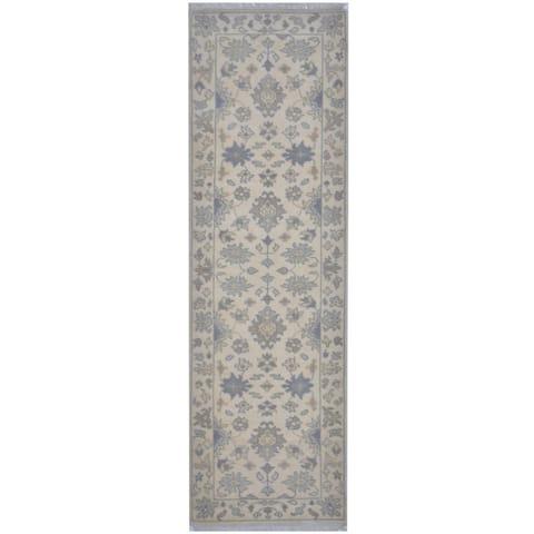 Handmade One-of-a-Kind Oushak Wool Runner (India) - 2'6 x 7'11