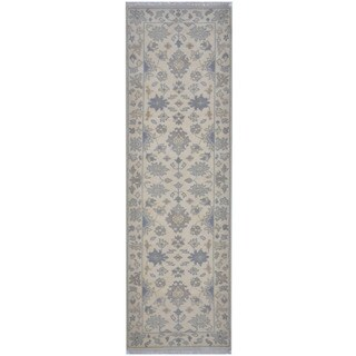 Herat Oriental Indo Hand-knotted Tribal Oushak Wool Runner (2'6 x 7'11)