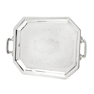 Godinger Silverplate Embossed Octagonal Serving Tray