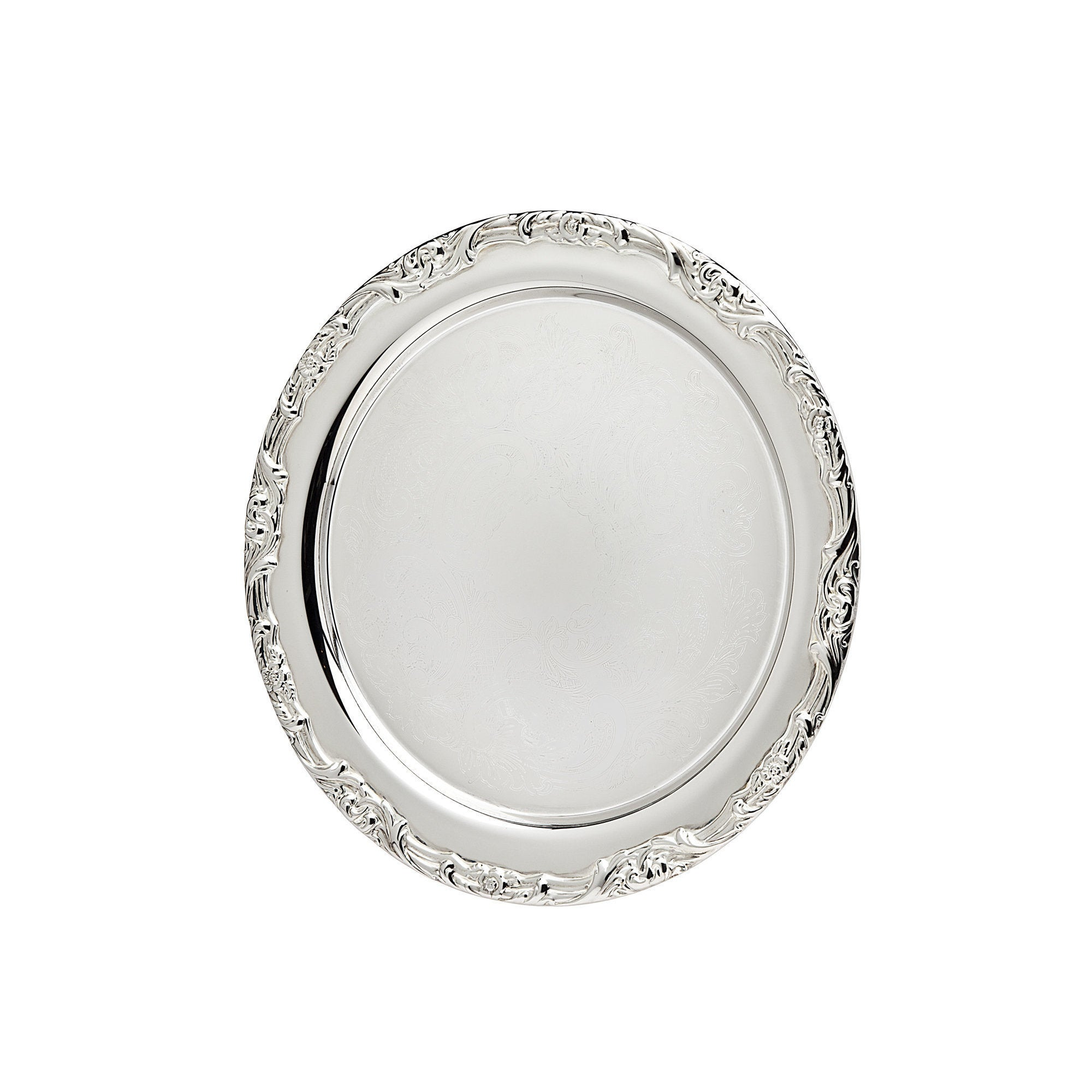 Godinger Silver Metal 16.5-inch Floral Design Round Tray ...