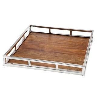 Godinger Square Pillar Brown Wood 18-inch x 18-inch Tray