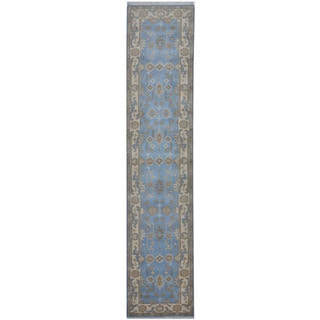 Herat Oriental Indo Hand-knotted Tribal Oushak Wool Runner (2'6 x 11'8)