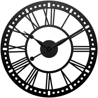 Infinity Instruments Abbey XXL Black Aluminum and Wood 38-inch Oversized Wall Clock