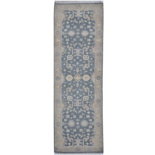 Handmade Herat Oriental Indo Tribal Oushak Wool Runner - 2'6 x 7'9 (India)