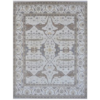 Herat Oriental Indo Hand-knotted Tribal Oushak Wool Rug (12'3 x 14'9)