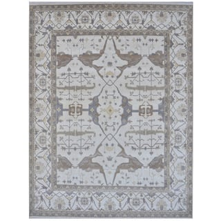 Herat Oriental Indo Hand Knotted Tribal Oushak Wool Rug 12 3 X 14