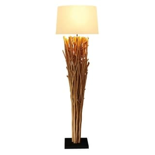Rousilique Natural Wood Floor Lamp with Tan Linen Shade